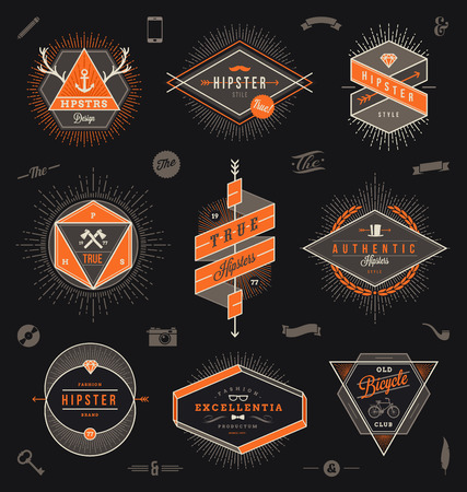 Set of hipster trendy emblems, labels and sign - vector illustration Vettoriali