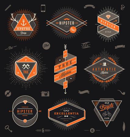 ribbon vector set: Set of hipster trendy emblems, labels and sign - vector illustration Illustration