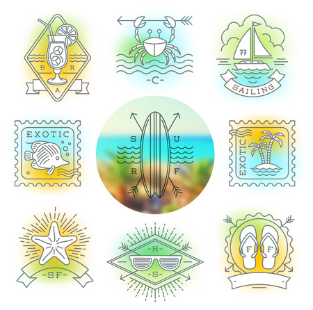 Line drawing vector illustration - Summer holidays, vacation and travel emblems, signs and labels Vector