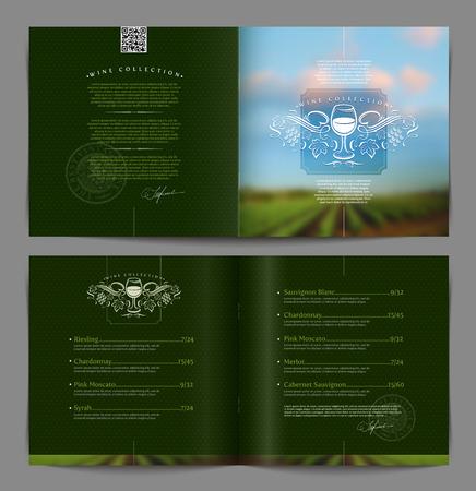 catalog: Vector template boekje page design - Wijnkaart of catalogus voor restaurant en boutique