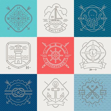 octopus: N�uticos, aventuras y emblemas viajes letreros y etiquetas - dibujo L�nea ilustraci�n vectorial Vectores