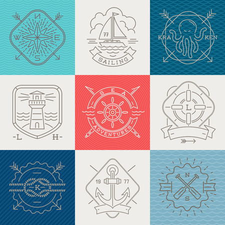 Nautical, adventures and travel emblems signs and labels - Line drawing vector illustration Vector