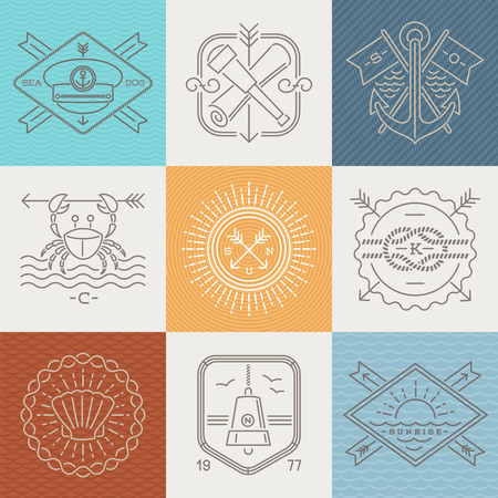 nautical: Adventures, nautical and travel emblems signs and labels - Line drawing vector illustration