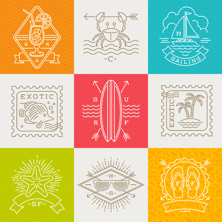 sign: Summer holidays, vacation and travel emblems, signs and labels - Line drawing vector illustration