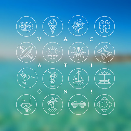 Line drawing vector icons - Summer vacation, holidays and travel signs and symbols Vector
