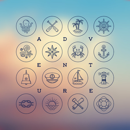 nautical: Line drawing vector icons - travel, adventures and nautical signs and symbols Illustration