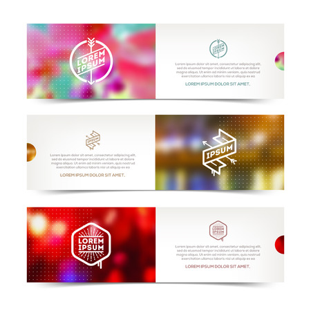 Abstract vector horizontal banners with hipster emblems and defocused background Vector
