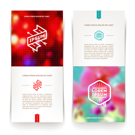 Abstract vector vertical banners with hipster emblems and blured background Vector