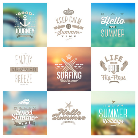 Vector set of travel and vacation type emblems and symbols on a defocused backgrounds Vector