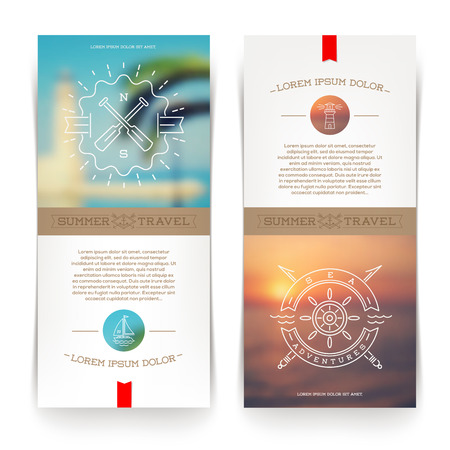vacation summer: Vector vertical banners with line drawing Nautical and travel signs and emblems