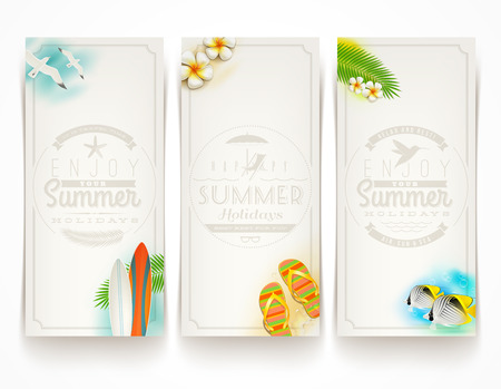 summer flowers: Travel and vacation vector banners with type design emblems