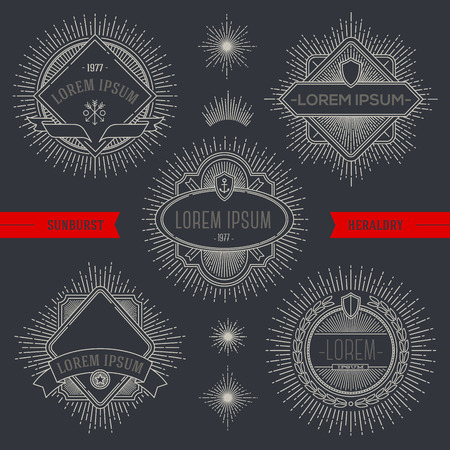 Vector set of line heraldic emblems and  labels with sunburst rays Vector