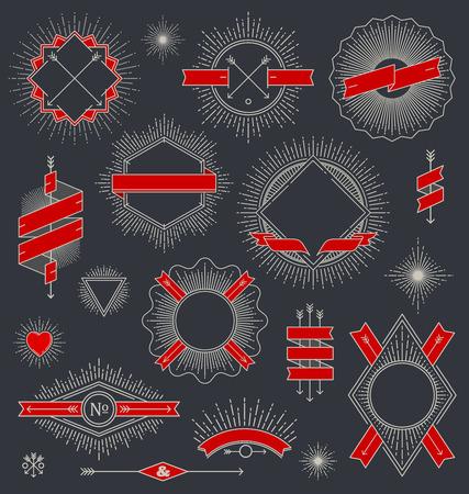 Vector set of line design emblem, sign and hipster labels with sunburst rays Vector