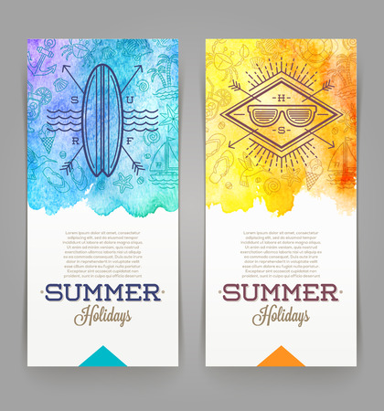 flip flops on the beach: Summer holidays and travel banners with line drawing hipster emblems - vector illustration