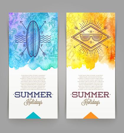 verano: Vacaciones de verano y banners de viajes con emblemas inconformista dibujo lineal - ilustraci�n vectorial Vectores