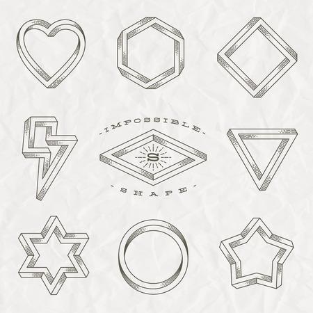 Vector set van lijntekeningen tattoo stijl onmogelijke vormen op een verfrommeld papier achtergrond