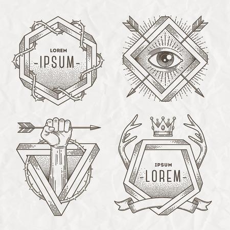 Emblème de l'art de la ligne de style de tatouage avec des éléments héraldiques et la forme impossible - illustration vectorielle Banque d'images - 38815320