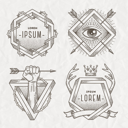 crowns: Tattoo style line art emblem with heraldic elements and impossible shape - vector illustration