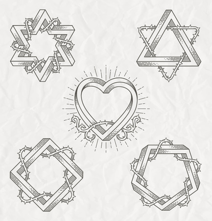 Tattoo style line art symbols with impossible shape with thorns branches - vector set Vector