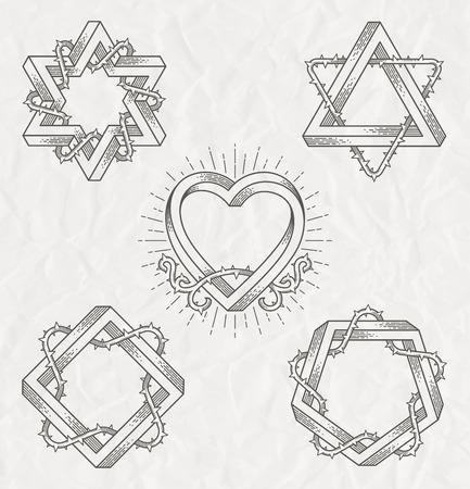 streckbilder: Tatuering stil line art symboler med omöjligt form med taggar grenar - vektor set Illustration