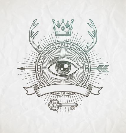 couronne royale: Emblème de l'art de la ligne de style de tatouage abstrait avec des éléments et des symboles héraldiques infiltration - illustration vectorielle