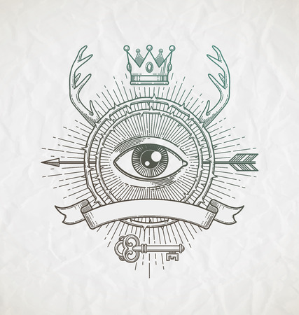 Zusammenfassung Tattoo stil linie kunst Emblem mit heraldischen Elemente und verdeckte Symbole - Vektor-Illustration Standard-Bild - 38815322