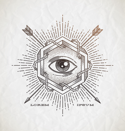 human eye: Abstract tattoo style line art emblem with impossible shape and undercover symbols - vector illustration