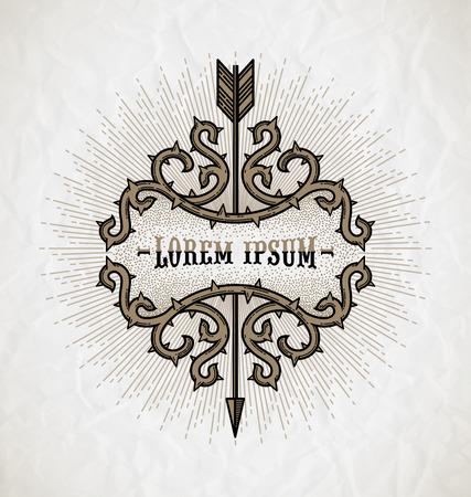 Linie Kunst Tattoo Stil Vektor-emblem - Dornen Rahmen mit Pfeil und Sunburst Strahlen auf einem zerknitterten Papier Hintergrund Standard-Bild - 38815272