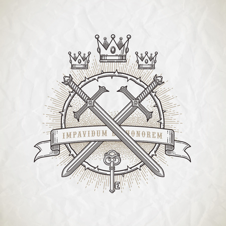 Abstract tattoo style line art emblem with heraldic and knightly elements - vector illustration