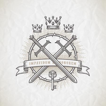 couronne royale: Emblème de l'art de la ligne de style de tatouage abstrait avec des éléments héraldiques et chevaleresque - illustration vectorielle