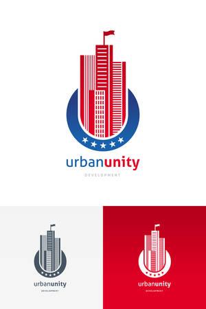 небоскребы: Вектор эмблема с небоскребов