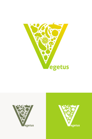 garden stuff: Vector emblems with fruit and vegetables Illustration