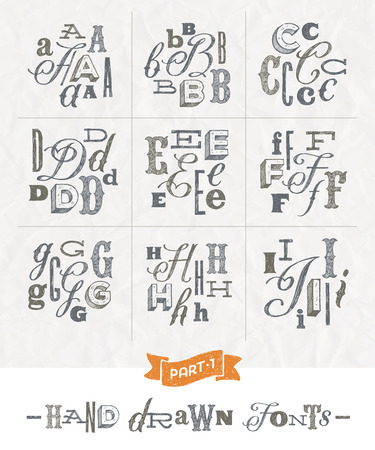hand written: Vector set of Hand drawn different fonts for a headlines - Part one