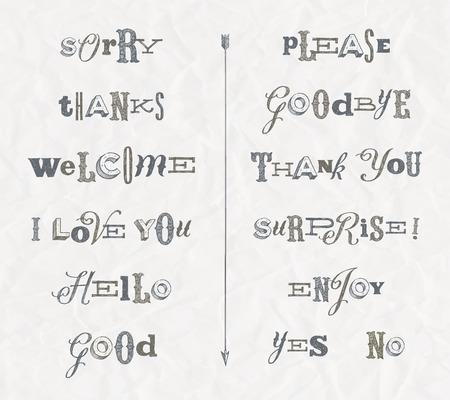 cartas antiguas: Vector conjunto - frases y palabras dibujadas a mano Vectores