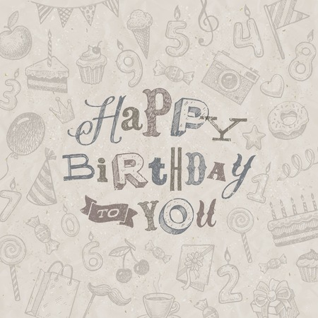 Hand drawn Happy Birthday greeting card - vector illustration Vector