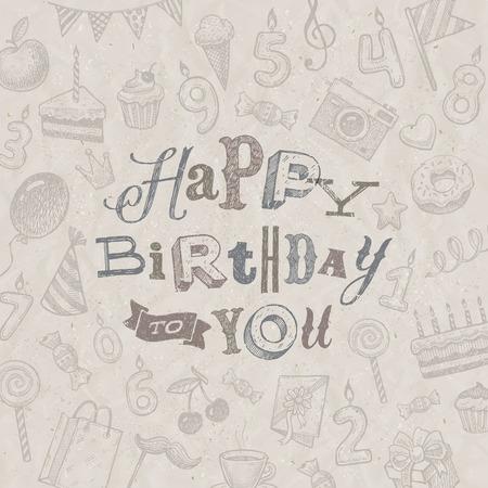 handwrite: Hand drawn Happy Birthday greeting card - vector illustration Illustration