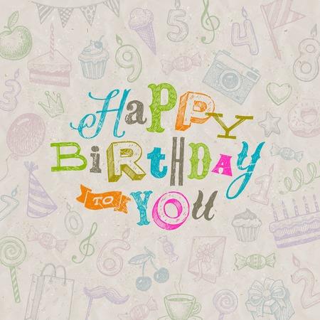 handwrite: Vector illustration - Hand drawn Happy Birthday greeting card