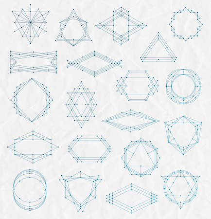 creased: Vector Set of Line art hipster frames on a creased paper background