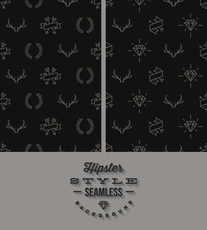 crease: Vector illustration  two black hipster style seamless background Illustration