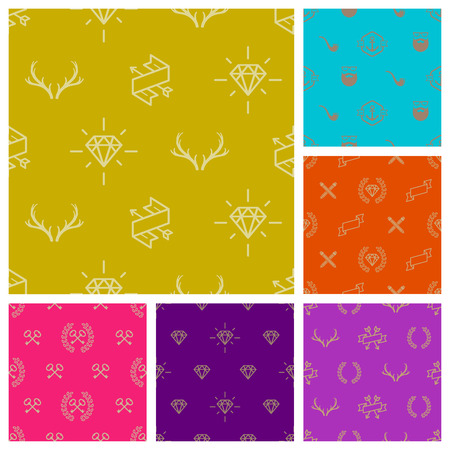 adamant: Set of hipster style seamless vector background