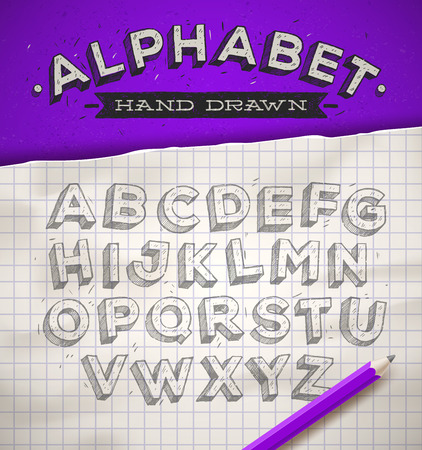 old notebook: Hand drawn sketch font on a school squared notebook paper  vector illustration