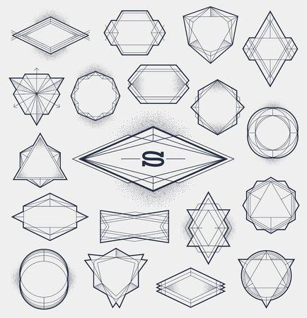 escudo: Conjunto de L�nea inconformista del arte enmarca con gradiente de puntos ilustraci�n vectorial