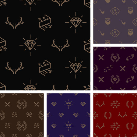 adamant: Vector illustration  Set of hipster style seamless background