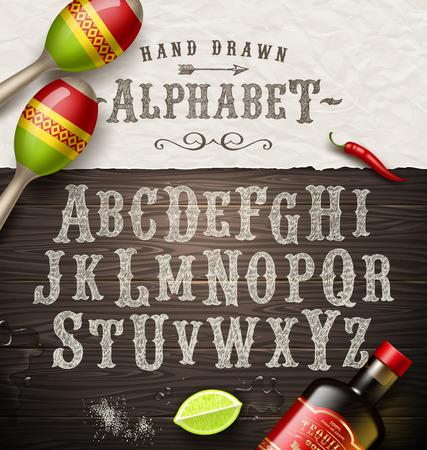 Vector hand getrokken uitstekende alfabet oude Mexicaanse uithangbord doopvont Stock Illustratie
