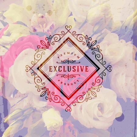 Vectorillustratie - Uitstekend embleem met bloeit kalligrafisch elegant ornamentkader op een bloemenachtergrond
