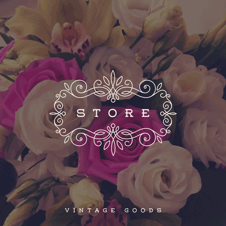 Vector illustration - Store template with flourishes calligraphic elegant ornament frame on a flowers background
