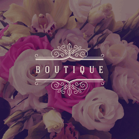 negozio: Illustrazione - modello boutique con svolazzi calligrafici elegante ornamento telaio su uno sfondo di fiori