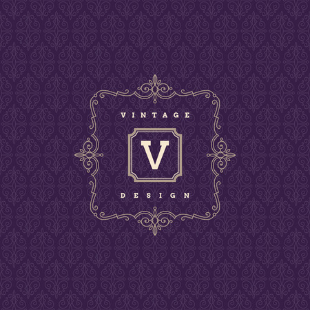 Monogram template with flourishes calligraphic elegant ornament elements. Identity design for store or cafe, shop, restaurant, boutique, hotel, fashion and etc.