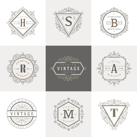 boutique hotel: Monogram template with flourishes calligraphic elegant ornament elements. Identity design with letter for cafe, shop, store, restaurant, boutique, hotel, heraldic, fashion and etc.
