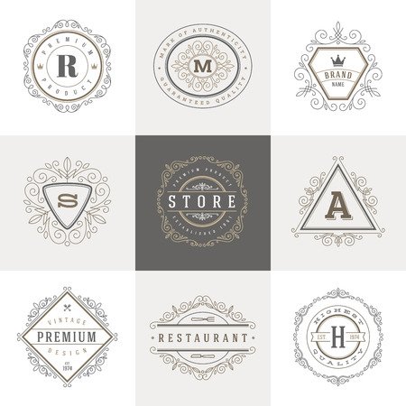 boutique hotel: Plantilla del monograma con florituras elementos caligr�ficos elegantes ornamento. Dise�o de identidad con la carta de cafeter�a, tienda, restaurante, boutique, hotel, her�ldica, moda, etc